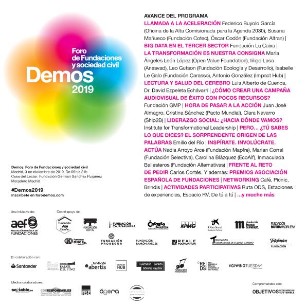 La Asociación Española de Fundaciones celebra #Demos2019, el foro de las fundaciones y sociedad civil