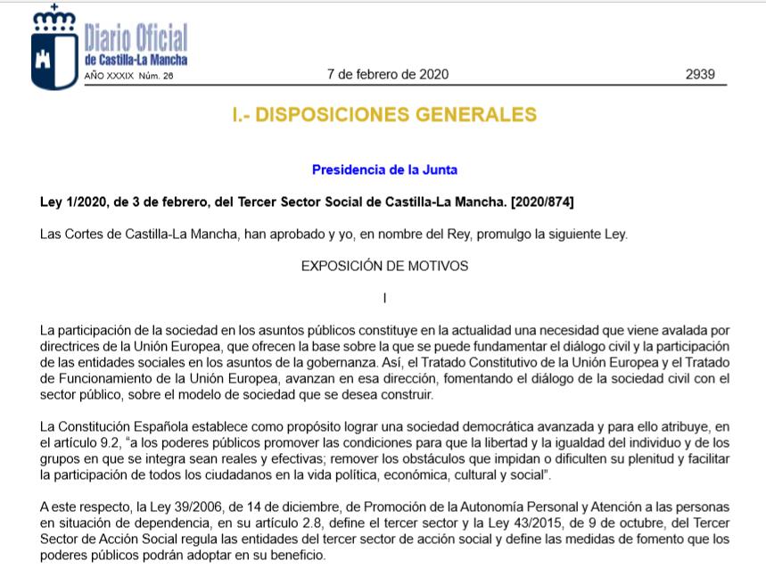 Entra en vigor la Ley del Tercer Sector Social de Castilla-La Mancha, se crea el un Inventario de Entidades Sociales y la Comisión para el Diálogo Civil